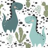 Dinosaur baby boy seamless pattern. Sweet dino with cactus. Scandinavian cute print. Royalty Free Illustration