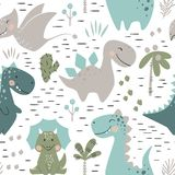 Dinosaur baby boy seamless pattern. Sweet dino with palm and cactus. Scandinavian cute print. Cool illustration for nursery t-shirt, kids apparel, invitation vector illustration