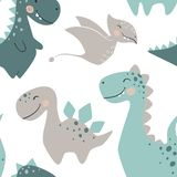 Dinosaur baby boy seamless pattern. Sweet dino with palm and cactus. Scandinavian cute print. Vector Illustration