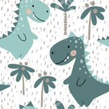 Dinosaur baby boy seamless pattern. Sweet dino with palm. Scandinavian cute print. Vector Illustration