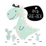 Dinosaur baby girl cute print. Sweet dino princess with bow. Cool tyrannosaurus illustration. For nursery t-shirt, kids apparel, invitation, simple scandinavian royalty free illustration