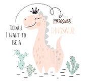 Dinosaur baby girl cute print. Sweet dino princess with crown. Cool brachiosaurus illustration. For nursery t-shirt, kids apparel, invitation, simple royalty free illustration