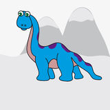 Dinosaur on a background of mountains. The image of a big colorful dinosaur. The background is made in a simple grey color. Vector illustration vector illustration