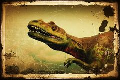 Dinosaur. Beautiful dinosaur lifts one leg royalty free stock photo
