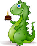 Dinosaur with birthday cake Royalty Free Stock Photography