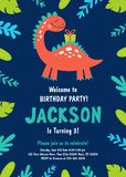 Dinosaur Birthday Party Invitation. Vector. Illustrations royalty free illustration