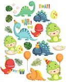 Dinosaur Birthday Vector Set Royalty Free Stock Images