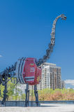 Dinosaur with Blackhawks' jersey. Dinosaur skeleton outside the Field Museum wearing Blackhawks jersey royalty free stock image