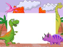 Dinosaur with blank sign Royalty Free Stock Photos