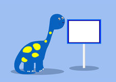 Dinosaur with blank sign Royalty Free Stock Images
