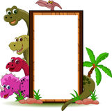 Dinosaur with blank sign. Vector illustration of dinosaur with blank sign Stock Photo