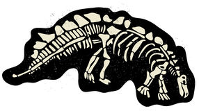 Dinosaur bones. Illustration of dinosaur skeleton buried in the ground vector Royalty Free Stock Images