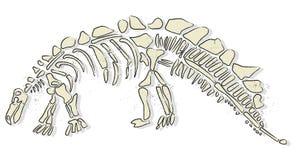 Dinosaur bones. Illustration of dinosaur skeleton isolated on white background vector Royalty Free Stock Images