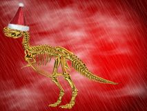 Dinosaur bones with Santa hat Royalty Free Stock Image