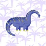 Dinosaur brachiosaurus flat. Dinosaur brachiosaurus with palm trees with noise and shadows, in a flat style vector illustration