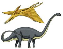 Dinosaur Brachiosaurus or sauropod, Plateosaurus, Diplodocus, Apatosaurus, Pterosaur, skeletons, fossils, winged lizard. Dinosaurs Brachiosaurus or sauropod Stock Photo