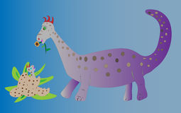 Dinosaur Bringing Flower to Baby. This is a vector illustration of a mother dinosaur character bringing a flower to her just borned baby Royalty Free Stock Photo