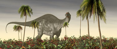 Dinosaur Brontosaurus. Computer generated 3D illustration with the dinosaur Brontosaurus Stock Photography