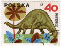 Dinosaur (brontosaurus) on a vintage post stamp. Dinosaur (brontosaurus) on a vintage, canceled post stamp from Poland Stock Photo