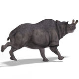 Dinosaur Brontotherium. With Clipping Path over white Stock Image