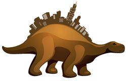 Dinosaur with buildings Royalty Free Stock Photography