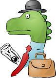 Dinosaur businessman. Illustration of a dinosaur businessman, with a briefcase and newspaper Stock Image