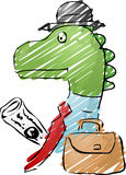 Dinosaur businessman. Illustration of a dinosaur businessman, with a briefcase and newspaper Stock Photography