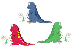 Dinosaur with camomile. Three colored dinosaurs with camomile Royalty Free Stock Images
