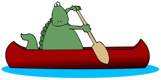 Dinosaur In A Canoe. This illustration depicts a dinosaur paddling a canoe Royalty Free Stock Photos