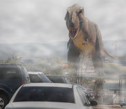 Dinosaur in the car parking Stock Photos
