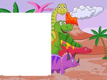 Dinosaur cartoon with blank sign Stock Images