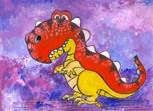 A dinosaur, a cartoon character. Figure with acrylic paints. Illustration for children. Handmade. Use printed materials, signs, ob stock illustration