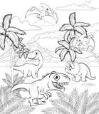 Dinosaur Cartoon Prehistoric Landscape Scene vector illustration