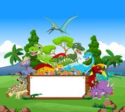 Dinosaur cartoon with landscape background and blank sign Royalty Free Stock Photos