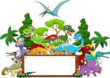 Dinosaur cartoon with landscape background and blank sign Stock Photos