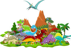 Dinosaur cartoon with landscape background Royalty Free Stock Images