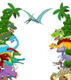 Dinosaur cartoon with landscape background Stock Images