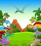 Dinosaur cartoon with landscape background Stock Photos