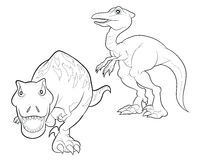 Dinosaur cartoon lineart. Velociraptor and tyrannosaurus cartoon lineart coloring Royalty Free Stock Images