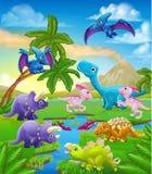 Dinosaur Cartoon Prehistoric Landscape Scene. A dinosaur cartoon cute animal background prehistoric landscape scene vector illustration
