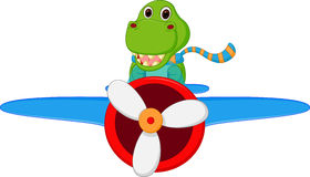 Dinosaur cartoon riding a plane Stock Photography
