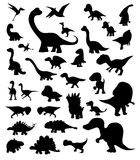 Dinosaur Cartoon Silhouettes Vector Stock Image
