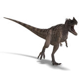 Dinosaur Ceratosaurus. 3D rendering of a Dinosaur Ceratosaurus with clipping path and shadow over white royalty free illustration