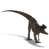 Dinosaur Ceratosaurus. 3D rendering of a Dinosaur Ceratosaurus with clipping path and shadow over white stock illustration