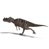 Dinosaur Ceratosaurus. 3D rendering of a Dinosaur Ceratosaurus with clipping path and shadow over white vector illustration