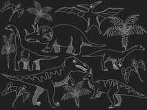 Dinosaur chalk vector for adults Stock Photo