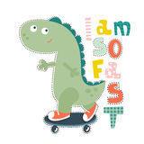 Dinosaur character design for baby fashion. Ts-hirt kids  print. Stock Images