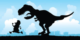 Dinosaur Chase Stock Photo