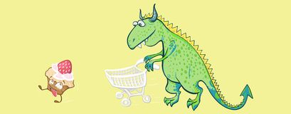 A dinosaur chasing the cake with a supermarket trolley Royalty Free Stock Images