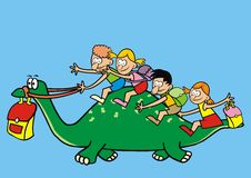 Dinosaur and children. Dinosaur and a group of children going to school. Humorous illustration Royalty Free Stock Photography